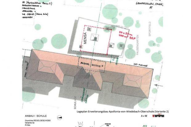 Mensa-Skizze aus der Sammelvorlage von 2018. Grafik: Stadt Leipzig