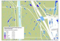 Ausschnitt der Starkregen-Gefahrenkarte zwischen Paußnitz und Wundstraße. Karte: Stadt Leipzig, Amt für Geoinformation und Bodenordnung, Verkehrs- und Tiefbauamt