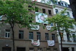 Das leerstehende Haus in der Ludwigstraße 71 während der kurzzeitigen Besetzung. Foto: L-IZ.de