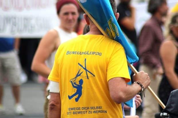 Die Bewegung Leipzig - längst ein wichtiger Teil der Querdenkerdemonstranten. Foto: Michael Freitag