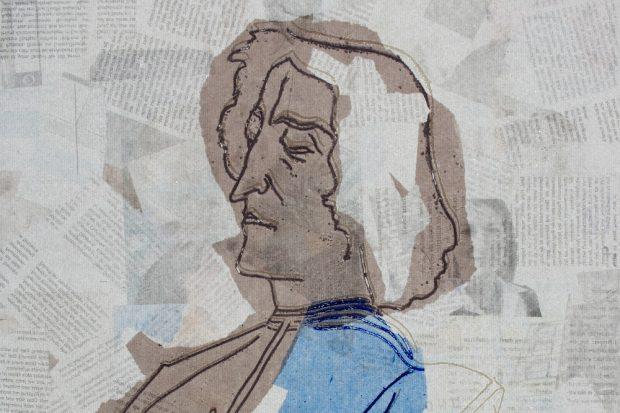 """Druckgrafik """"Giuliano de Medici"""" nach Botticelli, Eisenradierung, 2010, 46,5 x 36,5 cm. Quelle: Kirchenbezik Leipzig"""