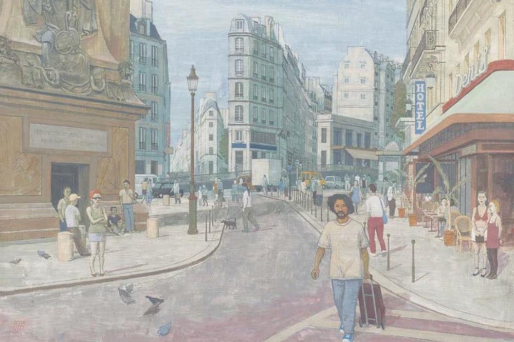 Günter Thiele, Paris - An der Porte St. Denis, 2006, Tempera auf Leinwand, 64 x 72 cm. Quelle: Galerie Schwind