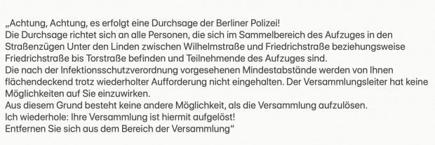 Die seit 13 Uhr verbreitete, offizielle Ansage der Polizei Berlin. Screenshot von Polizei Berlin, Twitter