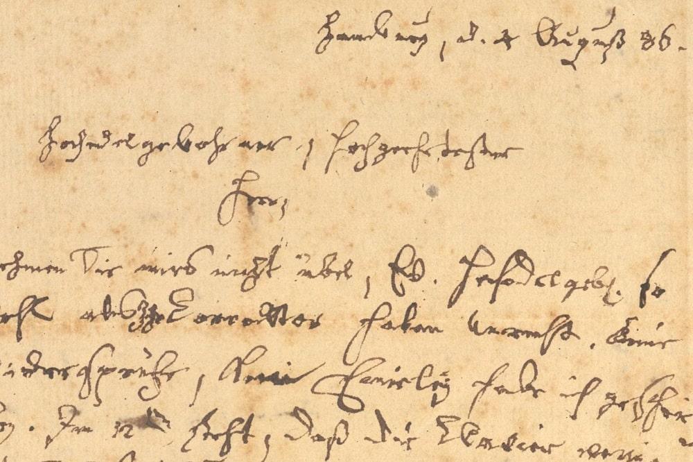 Carl Philipp Emanuel Bach: Brief an den Leipziger Verleger Engelhard Benjamin Schwickert, 4. August 1786. © Sammlung Bach-Archiv Leipzig