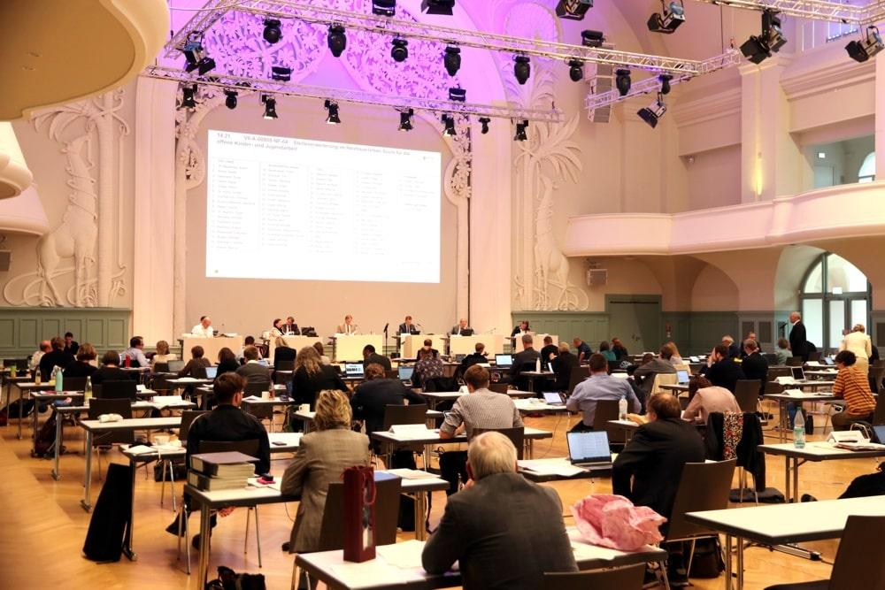 Stadtratssitzungen 2020 durch Corona im Interim Kongresshalle. Foto: L-IZ.de