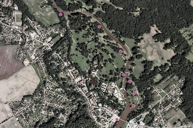 Standorte der alten Grenzsäulen im Fürst-Pückler-Park Bad Muskau © GeoSN