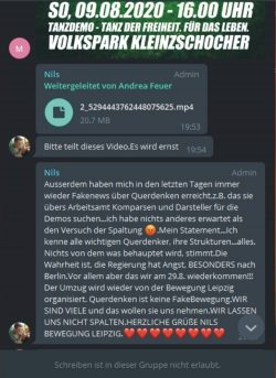 Die QAnon-Deutschkand-Propaganda ist längst Bestandteil in der Bewegung Leipzig. Screen: Telegram 09.08.2020