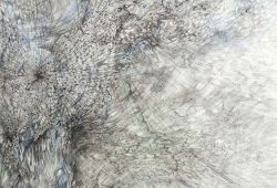 "Barbara Wege: ""Fluss I"" (Detail) aus der Serie ""Landscapes if life"", 2020, Tuschestift, Bleistift, Buntstift, Aquarellfarbe auf Bütten, 78 cm x 106 cm. Foto: Barbara Wege"