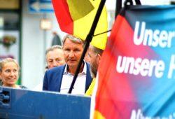 Er kam, sprach und ging. Björn Höcke am 28. August in Grimma. Foto: L-IZ.de
