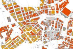 In beigefügter Grafik handelt es sich bei den roten Flächen um Bereiche mit ungünstiger und sehr ungünstiger thermischer Situation, wo 50 Prozent der Kosten gefördert werden. Bei den orangenen Flächen handelt sich um die Gebiete, in denen eine 25-Prozent-Förderung möglich ist. Grafik: Stadt Leipzig