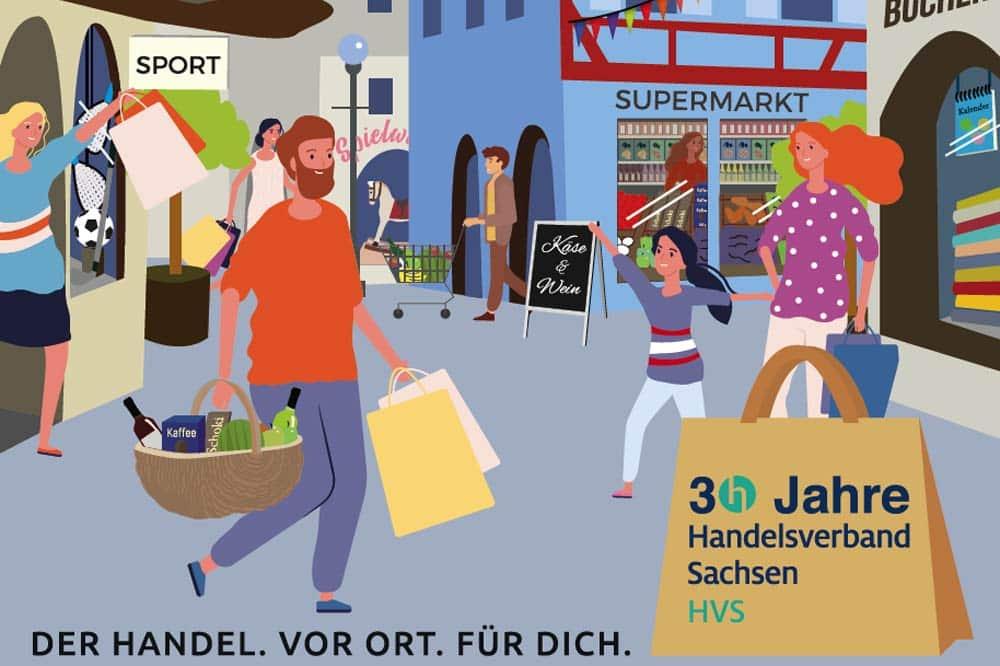 Ausschnitt aus dem Kampagnenmotiv: Der Handel. Das Gesicht Deiner Stadt. Grafik: Handelsverband Sachsen