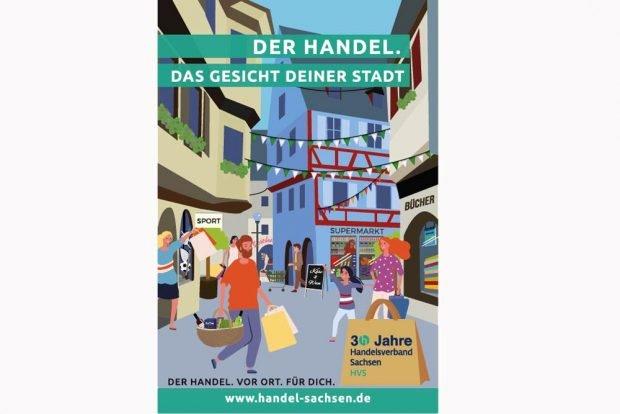 Das komplette Kampagnenmotiv: Der Handel. Das Gesicht Deiner Stadt. Grafik: Handelsverband Sachsen