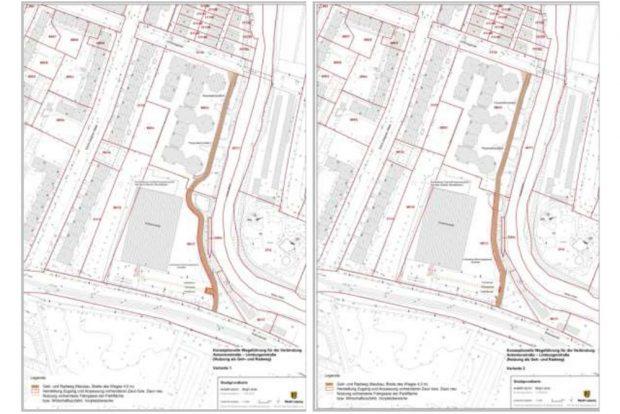 Zwei der geprüften Wegevarianten, die beide über das Gelände der Wohnanlage führen würden. Grafik: Stadt Leipzig
