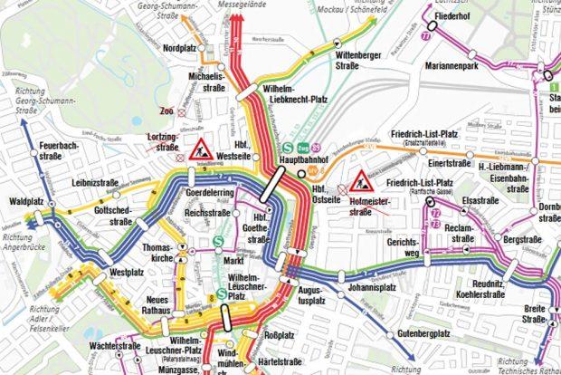 Linienführungejn der Straßenbahnen der LVB ab 31. August. Karte: LVB
