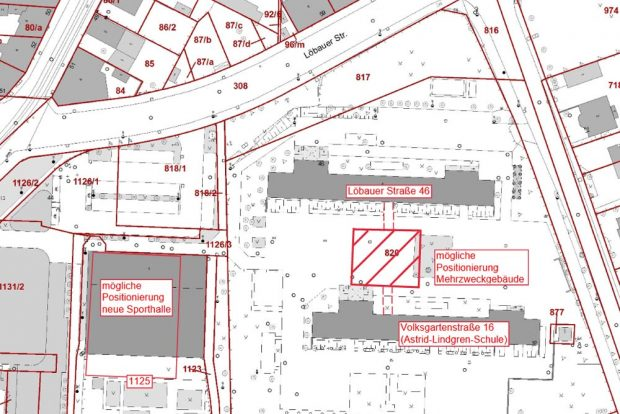 Der künftige Schulcampus Löbauer / Volksgartenstraße. Karte: Stadt Leipzig
