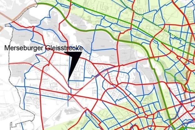 Die Merseburger Gleisstrecke auf der Karte HauptnetzRad der Stadt Leipzig. Karte: Stadt Leipzig