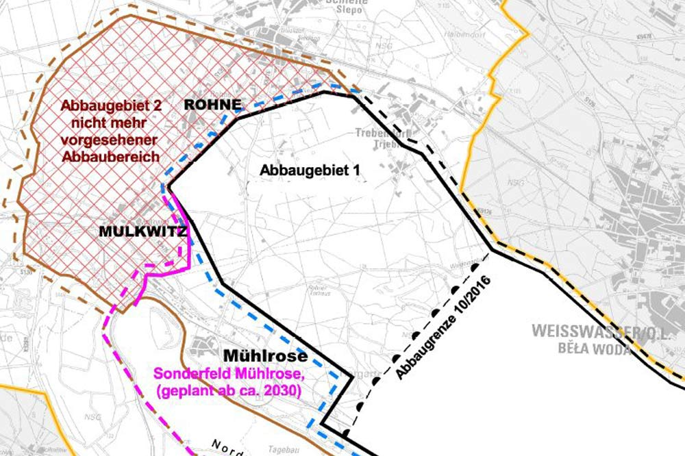 Die Abbaufelder am Tagebau Nochten. Grafik: Grüne Liga, Cottbus