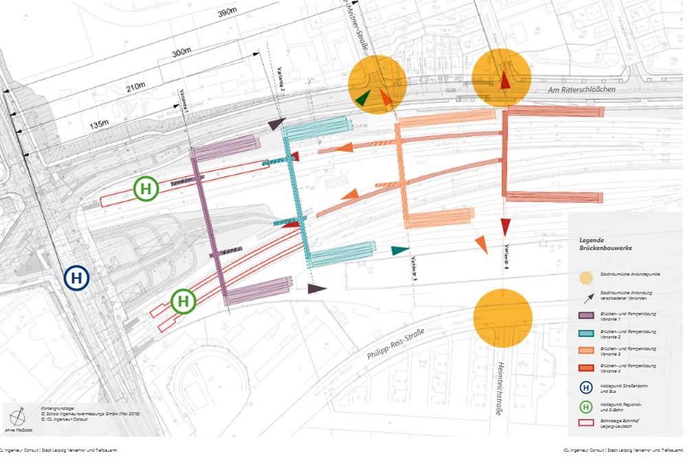 Die untersuchten Varianten für eine Verbindung für Fußgänger und Radfahrer von Leutzsch nach Böhlitz-Ehrenberg. Grafik: Stadt Leipzig