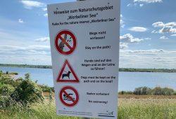 Hinweistafel mit Piktogrammen am Werbeliner See. Foto: Landratsamt Nordsachsen / Thomas Seidler