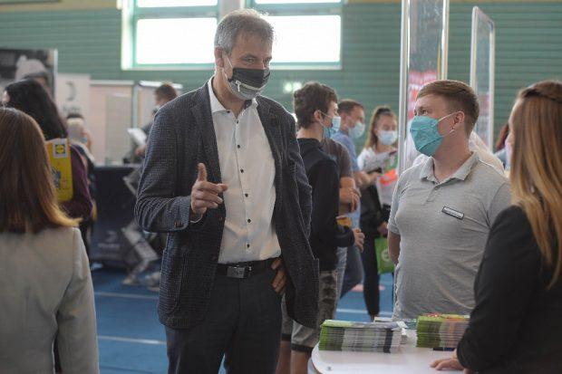 Landrat Kai Emanuel auf der 13. Ausbildungsmesse in Delitzsch. Foto: Landratsamt/Bley