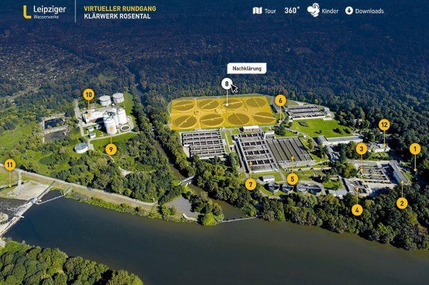Das virtuelle Klärwerk zeigt die einzelnen Reinigungsstufen in Leipzigs größtem Klärwerk. Foto: Leipziger Gruppe
