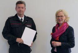 Dirk Hartmann, Bezirksbrandmeister Freistaat Sachsen und Regina Kraushaar, Präsidentin Landesdirektion Sachsen © Ingolf Ulrich