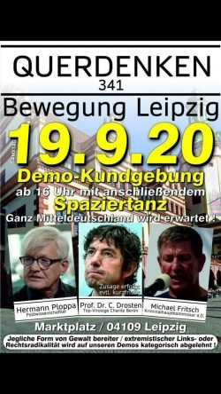 """Der Demoaufruf von """"Querdenken 341"""" (nach Postleitzahlen) mit zwei echten und einem falschen gast. Fotoscreen aus """"Bewegung Leipzig""""/Telegram"""