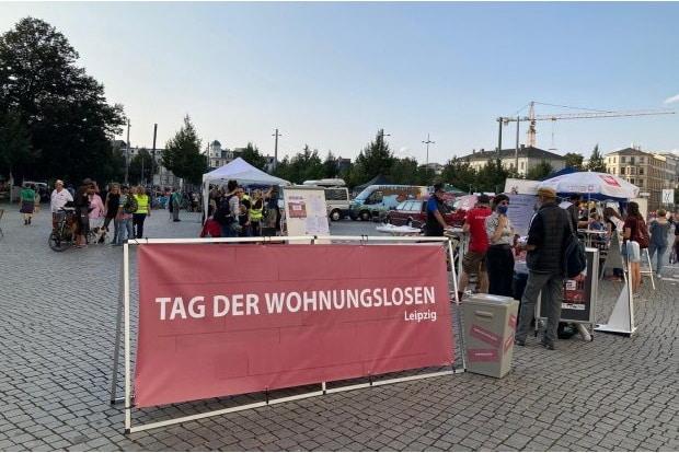 Tag der Wohnungslosen auf dem Richard-Wagner-Platz in Leipzig. Foto: L-IZ.de