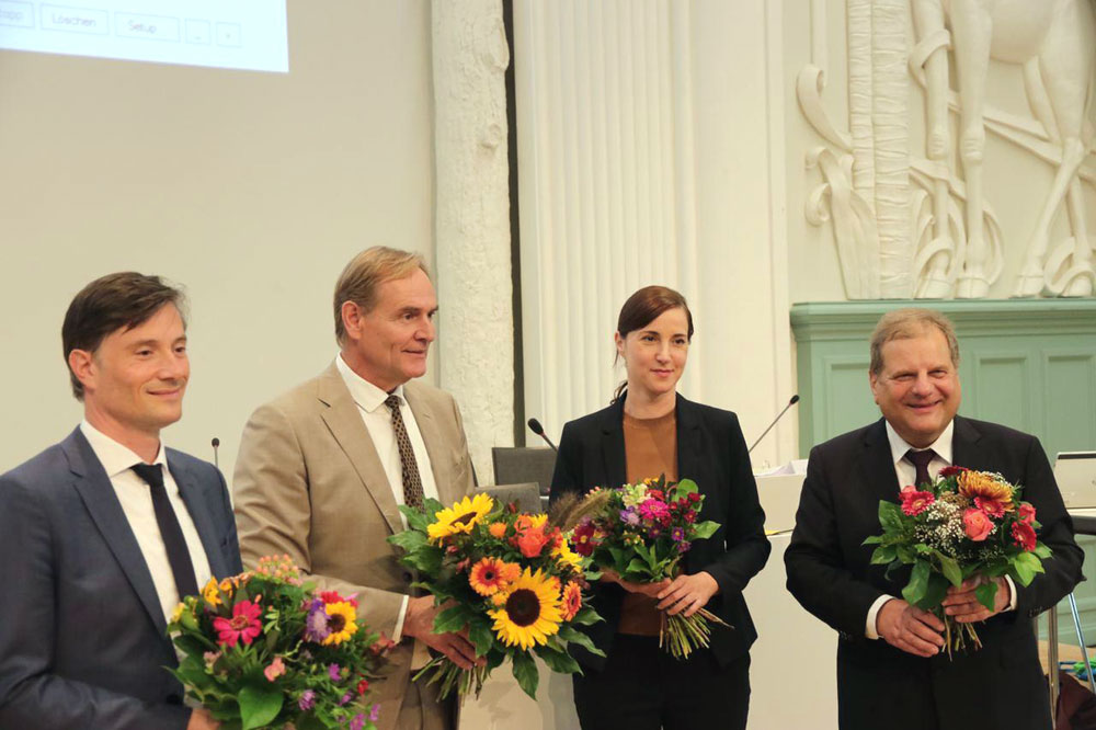 Heiko Rosenthal, Burkhard Jung, Vicki Felthaus und Thomas Fabian. Foto: L-IZ.de
