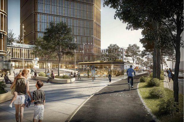 Die geplante Platzsituation am Partheufer. Visualisierung: HENN, München/Berlin/Peking