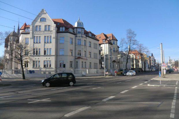 Karl-Heine-Straße vor der Einmündung der Erich-Zeigner-Allee. Foto: Marko Hofmann
