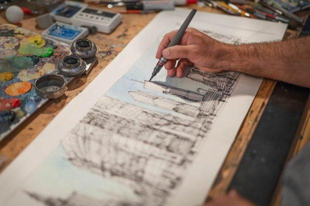 Yadegar Asisi arbeitet an ersten Skizzen für NEW YORK 9/11. Foto: asisi.de