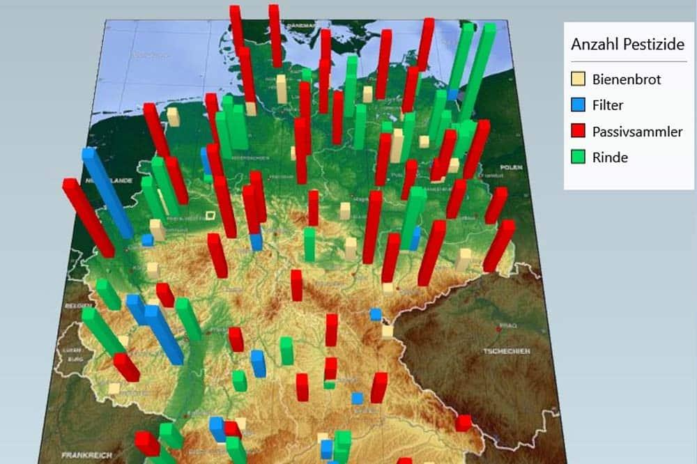 Die Messtellen und die Anzahl der gefundenen Pestizide vor Ort. Grafik: Umweltinstitut München