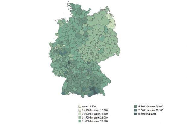 Verfügbares Einkommen der Haushalte im Jahr 2017. Grafik: Berlin-Institut