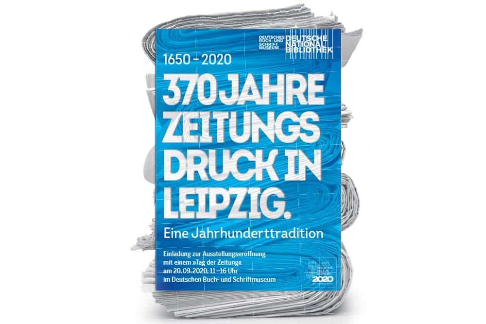 """Plakat zur Ausstellung """"370 Jahre Zeitungsdruck in Leipzig""""."""