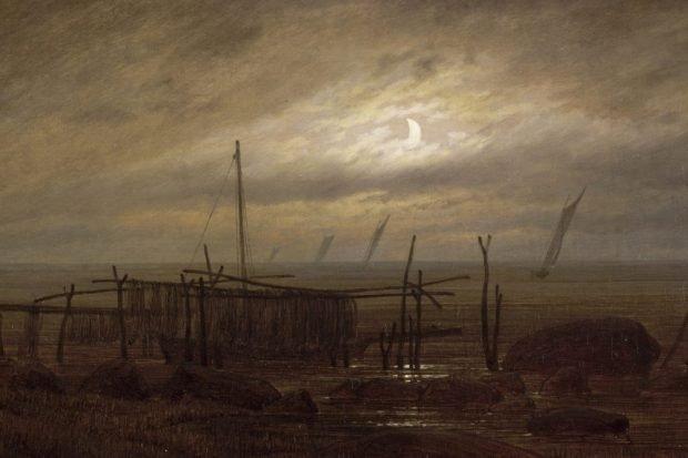 Küstenlandschaft im Mondschein, 1818 Öl auf Leinwand, 22 x 30,7 cm, Paris, Musée du Louvre, Department of Paintings © bpk RMN – Grand Palais Musée du Louvre.