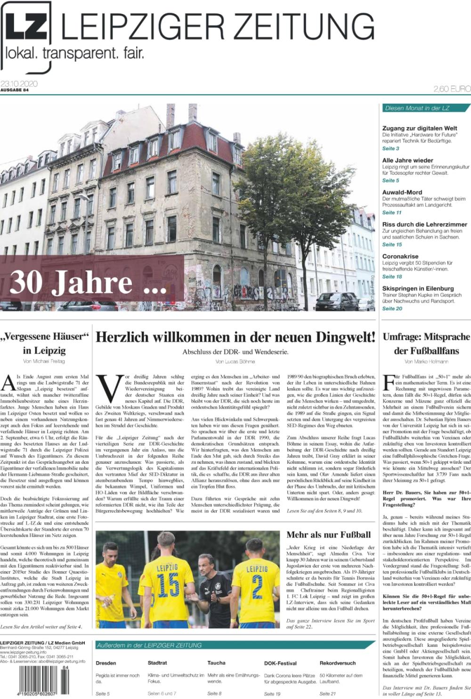Das Titelblatt der LEIPZIGER ZEITUNG Nr. 83, Ausgabe September 2020. Foto: Screen LZ