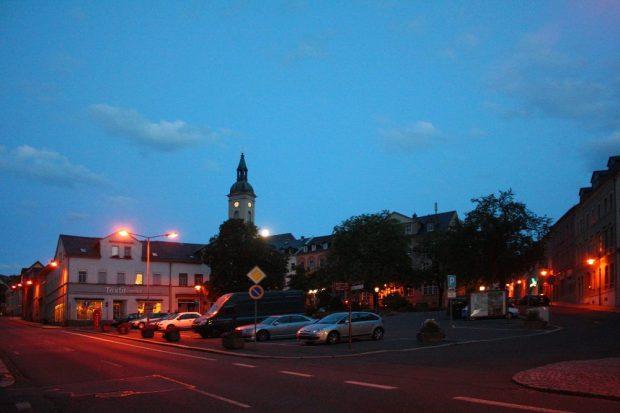 Der Altmarkt der Stadt Lichtenstein, in der knapp 12.000 Menschen leben. © Lucas Friese