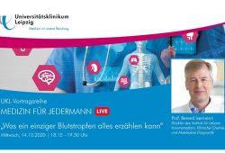 Am 14. Oktober live im Internet: Prof. Berend Isermann mit der Antwort auf die Frage, was ein Bluttropfen alles verraten kann. Foto: UKL