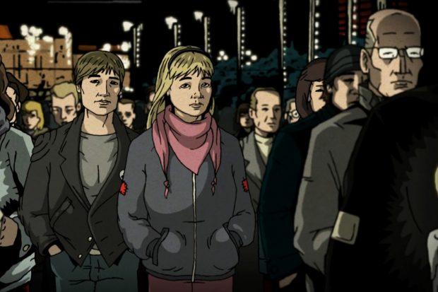 """Comic-Szene aus """"1989 – Unsere Heimat, das sind nicht nur die Städte und Dörfer"""". © Schwarwel"""