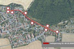 Vollsperrung Kreisstraße Thraena. Quelle: Stadtverwaltung Borna