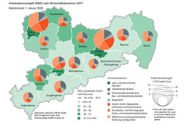 Arbeitnehmerentgelte in Sachsen. Karte: Freistaat Sachsen / Statistisches Landesamt
