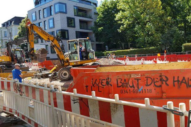 Straßenbaustelle im Leipziger Westen. Foto: Marko Hofmann
