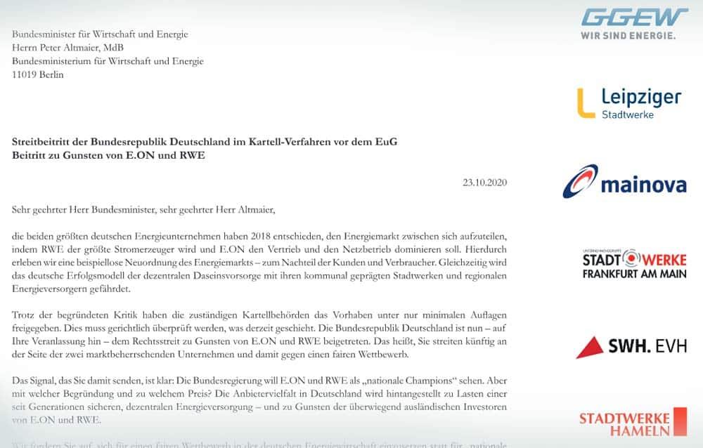 Ausschnitt aus dem Brief an Bundeswirtschaftsminister Peter Altmaier. Screenshot: L-IZ