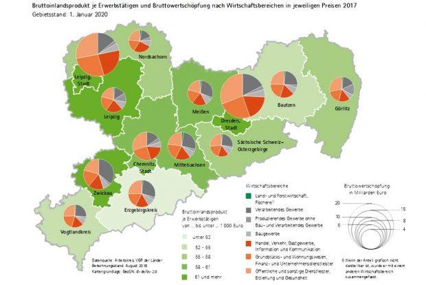 Bruttoinlandsprodukt in Sachsen. Karte: Freistaat Sachsen / Statistisches Landesamt