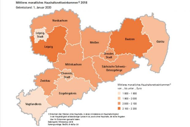 Haushaltsnettoeinkommen in Sachsen. Karte: Freistaat Sachsen / Statistisches Landesamt