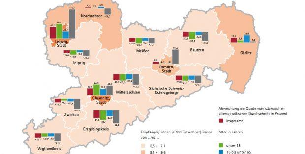 Soziale Mindestsicherung in Sachsen. Karte: Freistaat Sachsen / Statistisches Landesamt