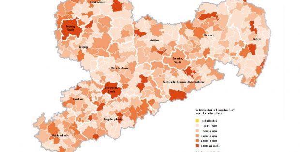 Schuldenstand der Gemeinden in Sachsen. Karte: Freistaat Sachsen, Statistisches Landesamt