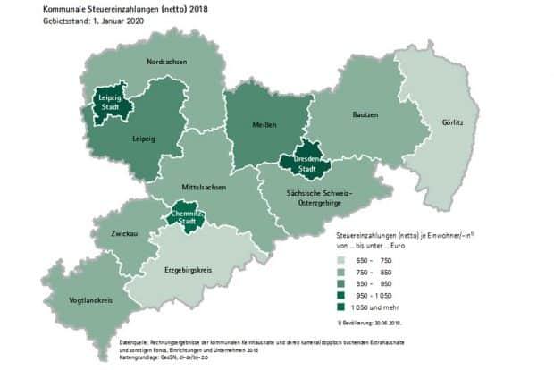 Die Steuereinnahmen der Kommunen in Sachsen. Karte: Freistaat Sachsen / Statistisches Landesamt