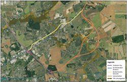 Die aktuell von der DEGES untersuchten Trassenvarianten der B78n. Karte: DEGES